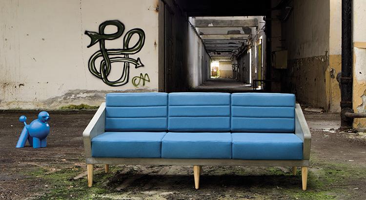 Beton we wnętrzu kanapa