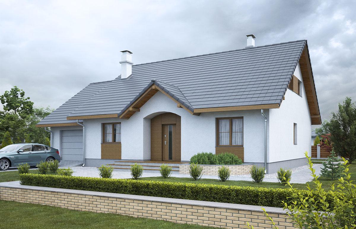 Projekt domu Groszek zgarażem dach dwuspadowy opał stały SLL1062